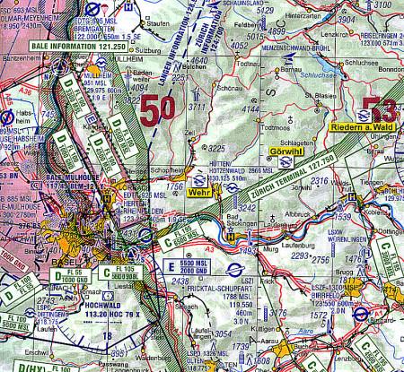 ICAO Kartenausschnitt MGS-Startgelände